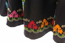 Black cloche skirt with elegant multi colors embroidery - Falastini Brand