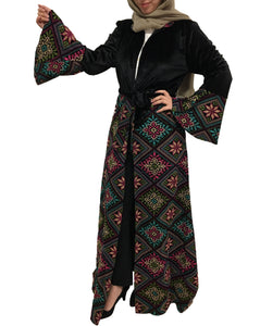 Velvet long black jacket/abaya with stylish full embroidery