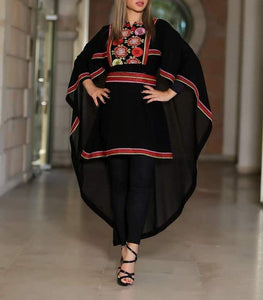 Black Blouse Cape Dress Floral Embroidery