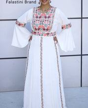 Hand Embroidered Beige Palestinian Thobe Caftan Dress Floral Stylish Embroidery