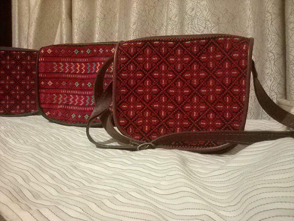 Hand embroidered leather handbag - Falastini Brand