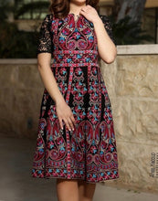 Short Dantel Sleeve Palestinian Embroidered Short Dress