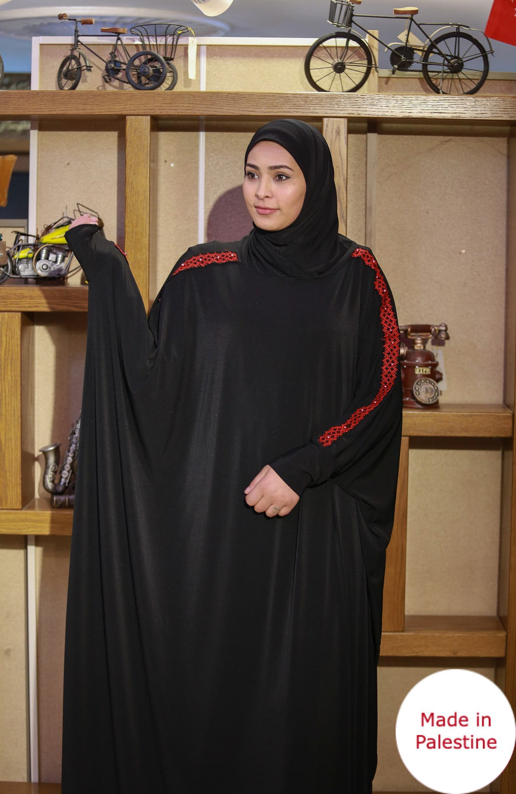 Free Size Arm Embroidered Black Prayer Dress Hijab Scarf Islamic Abaya Lycra Soft Prayer Clothes