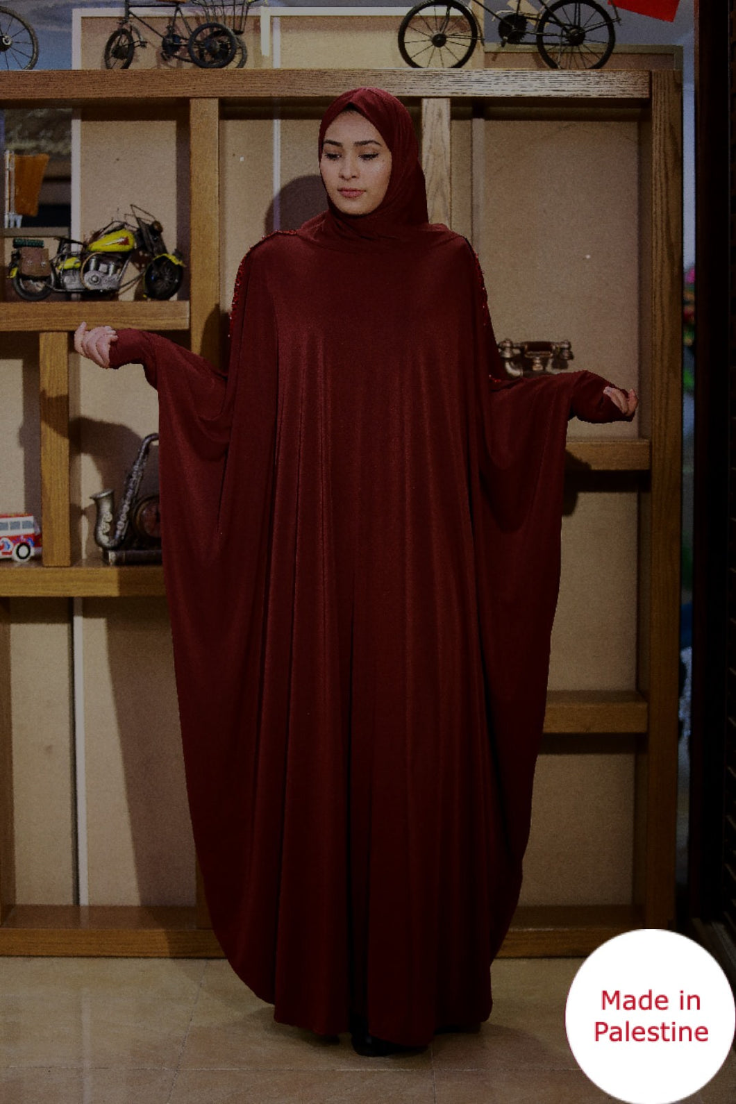 Free Size Arm Embroidered Maroon Prayer Dress Hijab Scarf Islamic Abaya Lycra Soft Prayer Clothes