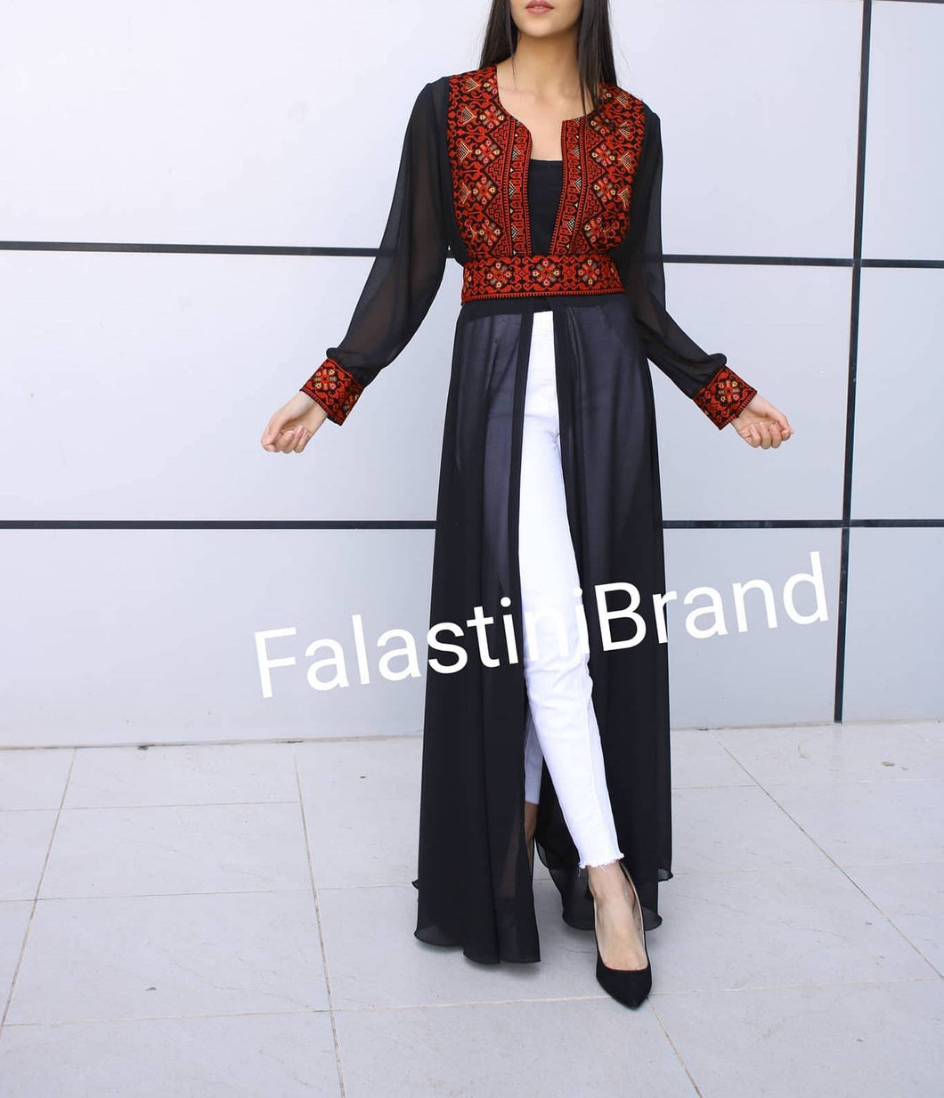 Black Cloche Style Long Soft Georgette Red Embroidered Dress Long Sleeves