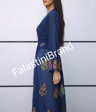 Stunning Palestinian Navy Georgette Embroidered Open Dress Long Sleeve