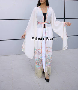 Fringe Hem Palestinian Off White Georgette Embroidered Open Abaya Long Slit Sleeve