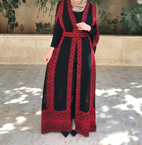 Marvelous Black and Red Palestinian Embroidered Abaya Split Sleeve