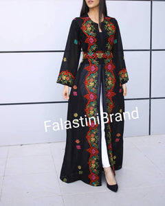 Palestinian Black Georgette Embroidered Open Abaya Maxi Dress Long Sleeve