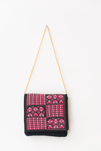 Black handbag with pink embroidery - Falastini Brand
