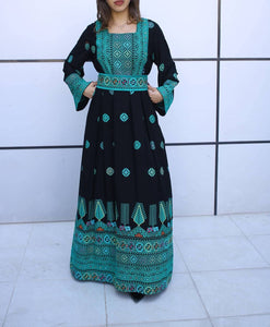 Amazing Turquoise Palestinian Embroidered Thobe Caftan Dress