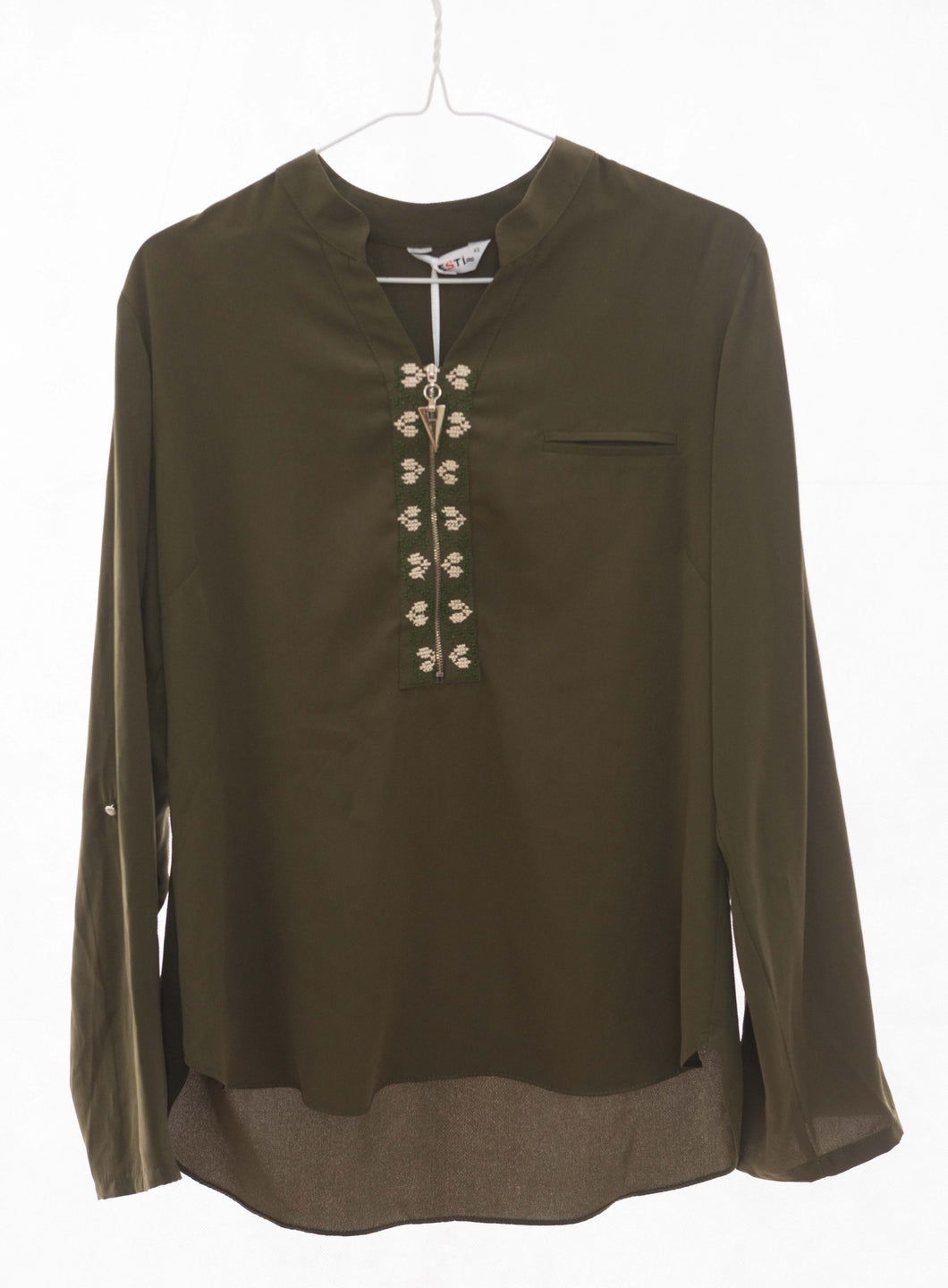 Hand embroidered olive green shirt - Falastini Brand