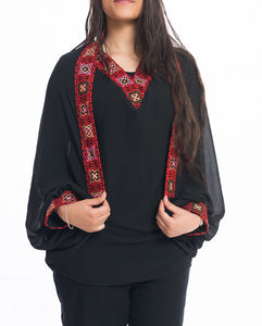 2 pieces embroidered black blouse - Falastini Brand