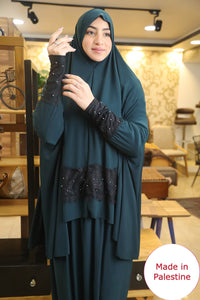 Free Size Green Dantel Styled Prayer Dress Hijab Scarf Islamic Abaya Lycra Soft Prayer Clothes