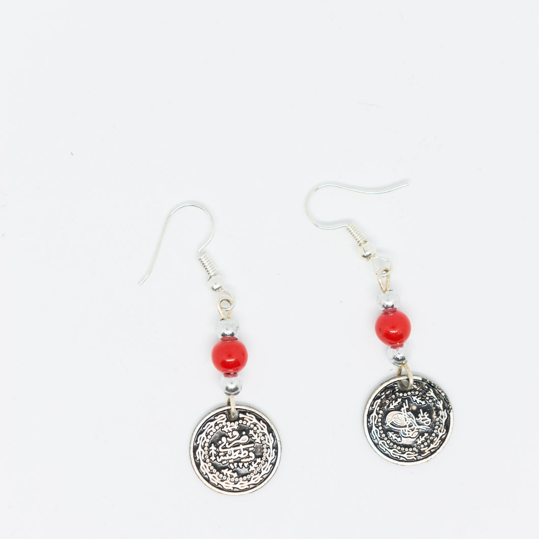 Handmade old Palestinian coin earrings with red beads - Falastini Brand