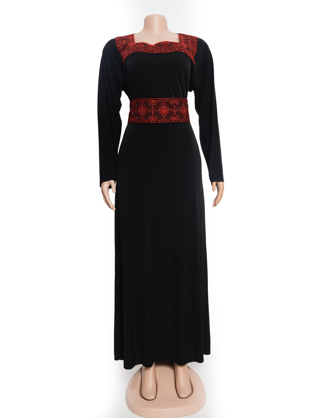Stylish embroidered black lining dress with red elegant red embroidery