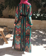 Amazing All Long Colorful Rainbow Embroidery Palestinian Open Abaya Long Sleeve