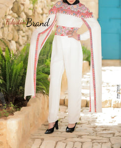 Royal White and Red Palestinian Embroidered Jumpsuit Long Sleeve