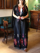 Black & Red Georgette Nol Embroidered Open Abaya Kaftan Maxi Dress Long Split Sleeve