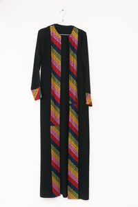 Long black jacket/abaya with multicolor embroidery and belt - Falastini Brand