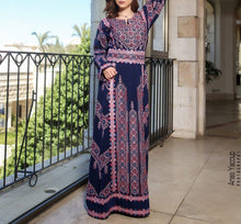 Manajil Samer Palestinian Embroidered Navy and Pink Thobe Maxi Dress Long Sleeves Kaftan Palestinian Embroidery