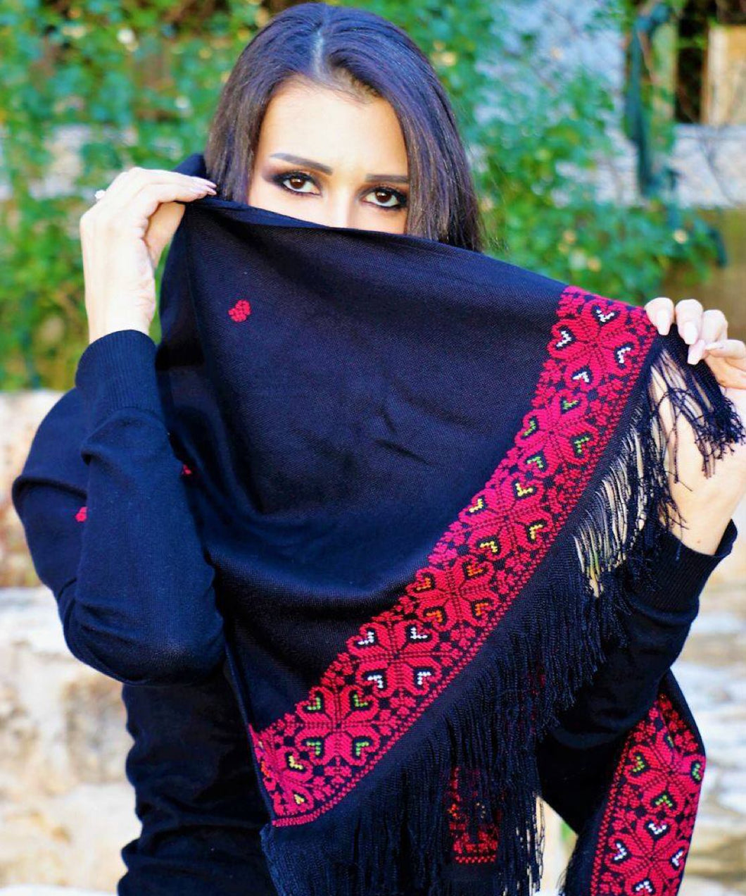 Black scarf with red embroidery - Falastini Brand