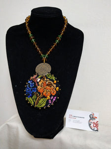Handmade Cross Stitch Necklace Inalid with Beads and Cystals