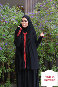 Free Size Embroidered Black Prayer Dress Hijab Scarf Islamic Abaya Lycra Soft Prayer Clothes