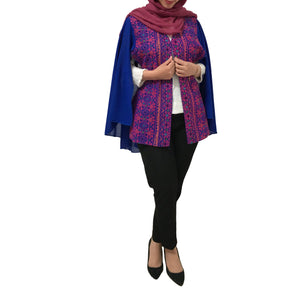 Free Size Dark Blue Georgette Cloak Sleeve Elegant Embroidered Open Cape Classy Poncho