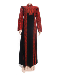 The queen dress - Black and red embroidered maxi dress