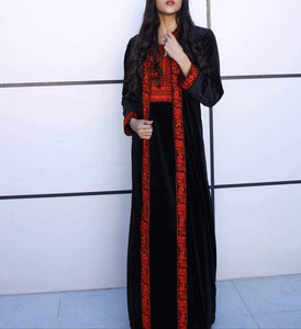 Black Velvet Abaya Two Pieces Red Nol Embroidery