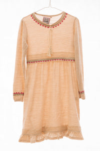 Girl's soft wool dress with hand embroidery - Falastini Brand