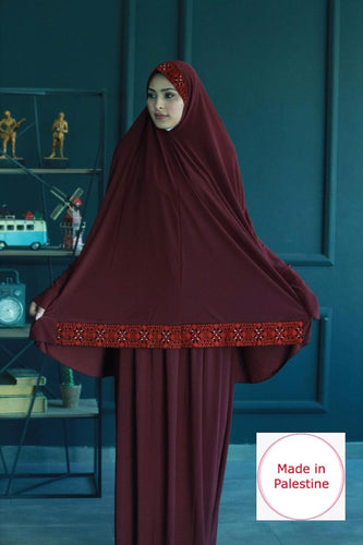Free Size 2 Pieces Maroon Embroidered Prayer Dress Hijab Scarf Islamic Abaya Soft Prayer Clothes