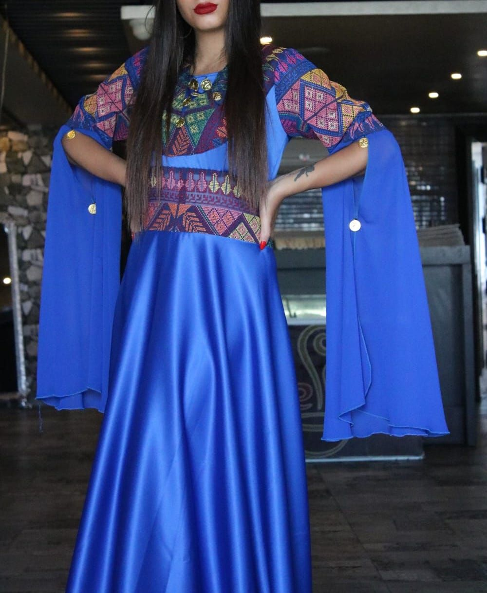Blue embroidered maxi bell sleeves dress