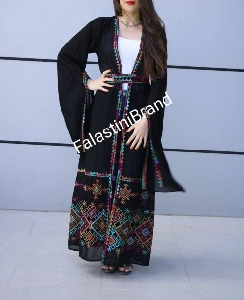 Palestinian Black Georgette Embroidered Open Abaya Long Slit Sleeve