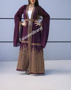 Palestinian Purple Georgette Embroidered Open Abaya Long Slit Sleeve