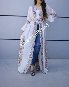 Wonderful Palestinian Off White Georgette Nol Embroidered Open Abaya Maxi Dress Long Buff Sleeve