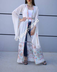 Palestinian Off White Georgette Embroidered Open Abaya Long Slit Sleeve