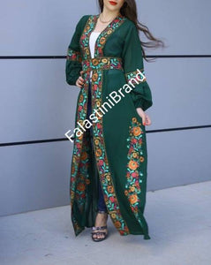 Wonderful Palestinian Green Georgette Nol Embroidered Open Abaya Maxi Dress Long Buff Sleeve