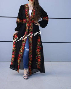 Wonderful Palestinian Black Georgette Nol Embroidered Open Abaya Maxi Dress Long Buff Sleeve