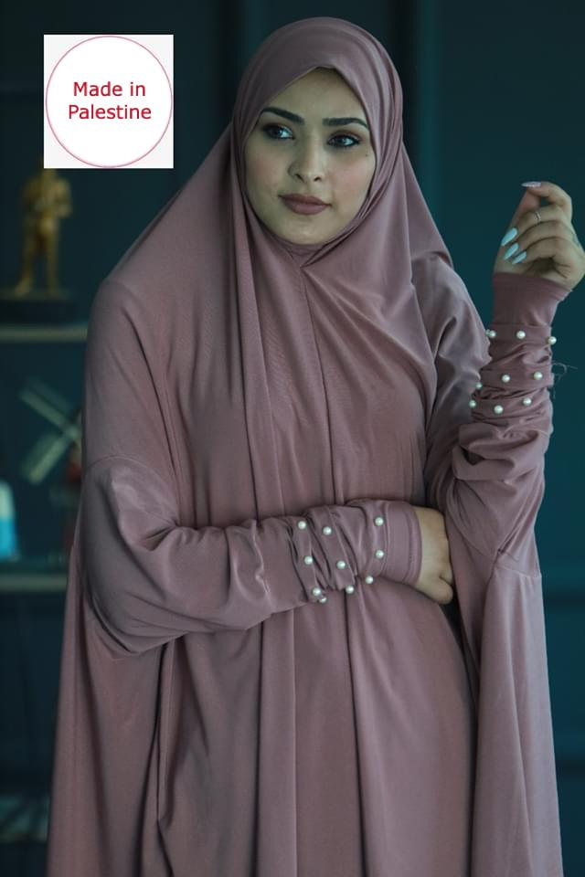 Free Size Two Pieces Pink Pearl Arms Prayer Dress Hijab Scarf Islamic Abaya Soft Prayer Clothes