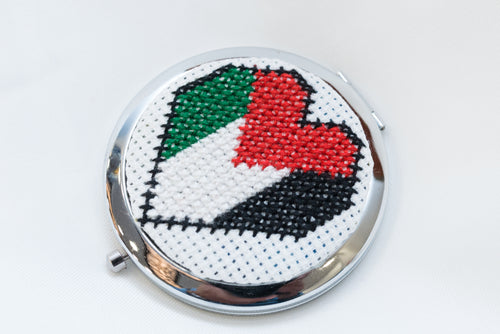 Palestinian love embroidered mirror - Falastini Brand