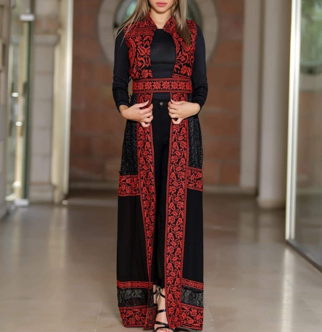 Black And Red Embroidered Palestinian Sleeveless Sheer Abaya