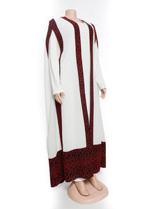 White long embroidered cape with stylish red embroidery