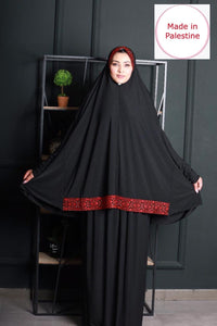 Free Size 2 Pieces Black Embroidered Prayer Dress Hijab Scarf Islamic Abaya Soft Prayer Clothes