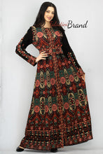 New Elegant Black & Green Palestinian Embroidered Henna Thobe Dress