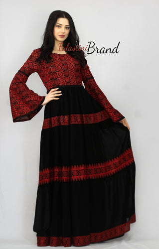 Stunning Black Cloche Long Dress Palestinian Embroidery