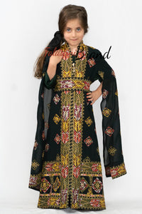 Little Girl Green Flowy Palestinian Embroidered Dress