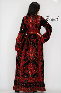 Palestinian dress Thobe Red Palestinian Style Embroidered Dress