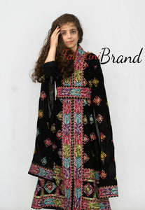 Little Girl Black Flowy Palestinian Embroidered Dress